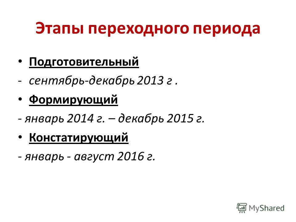 Этапы переходного периода Подготовительный -сентябрь-декабрь 2013 г. Формирующий - январь 2014 г. – декабрь 2015 г. Констатирующий - январь - август 2016 г.
