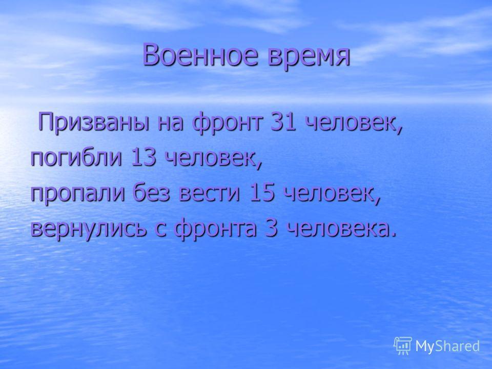 Военное время Призваны на фронт 31 человек, Призваны на фронт 31 человек, погибли 13 человек, пропали без вести 15 человек, вернулись с фронта 3 человека.