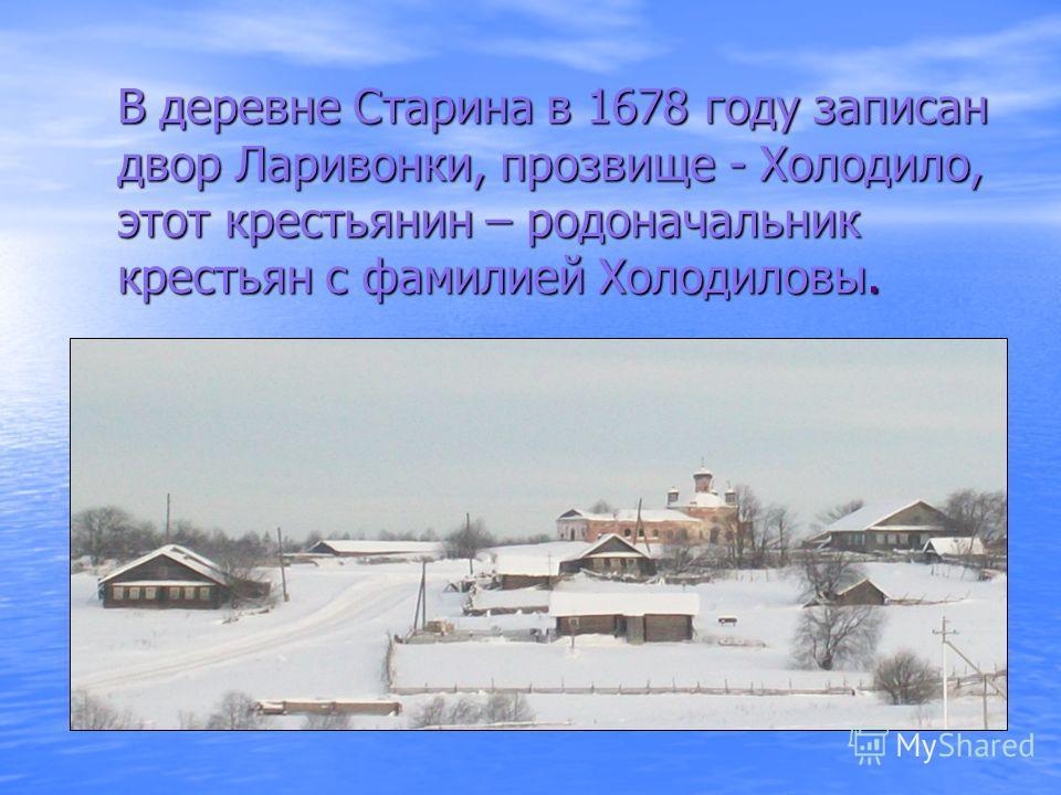 В деревне Старина в 1678 году записан двор Ларивонки, прозвище - Холодило, этот крестьянин – родоначальник крестьян с фамилией Холодиловы.