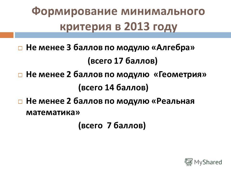 Формирование минимального критерия в 2013 году Не менее 3 баллов по модулю « Алгебра » ( всего 17 баллов ) Не менее 2 баллов по модулю « Геометрия » ( всего 14 баллов ) Не менее 2 баллов по модулю « Реальная математика » ( всего 7 баллов )