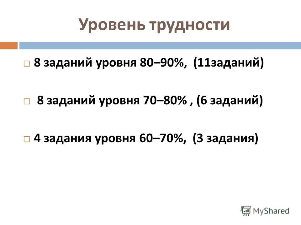 Уровень трудности 8 заданий уровня 80–90%, (11 заданий ) 8 заданий уровня 70–80%, (6 заданий ) 4 задания уровня 60–70%, (3 задания )