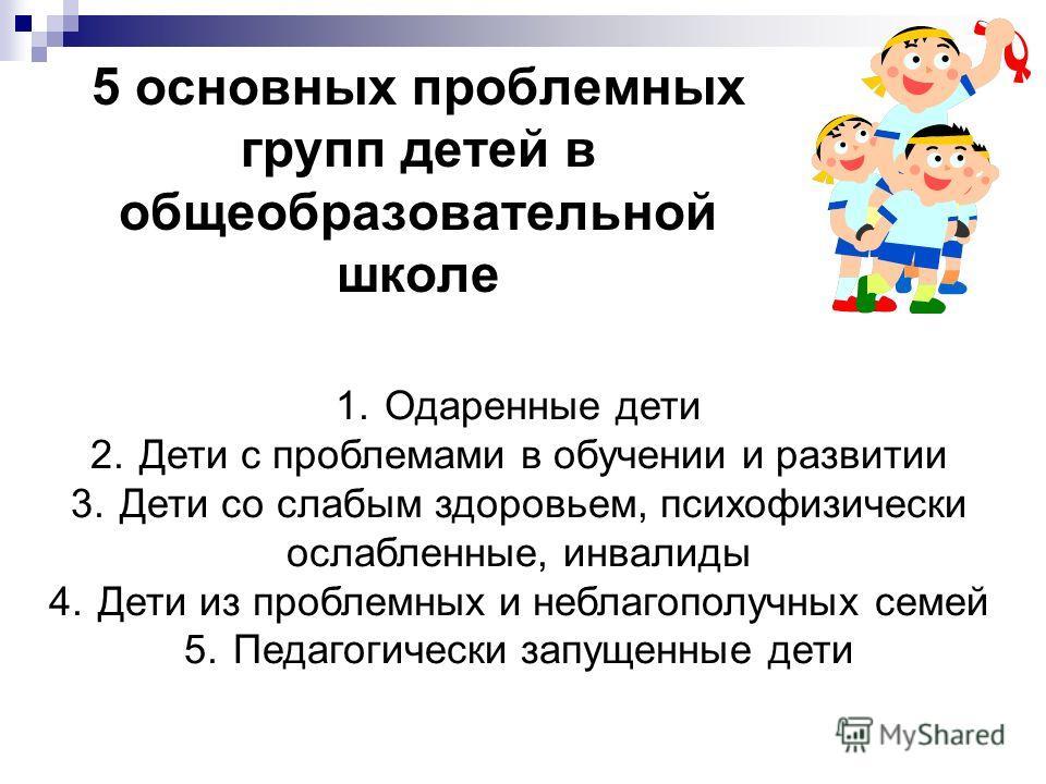 5 основных проблемных групп детей в общеобразовательной школе 1.Одаренные дети 2.Дети с проблемами в обучении и развитии 3.Дети со слабым здоровьем, психофизически ослабленные, инвалиды 4.Дети из проблемных и неблагополучных семей 5.Педагогически зап