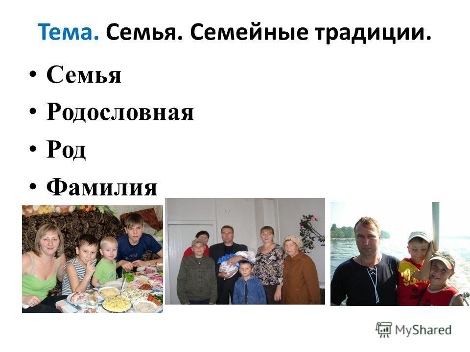 Тема. Семья. Семейные традиции. Семья Родословная Род Фамилия