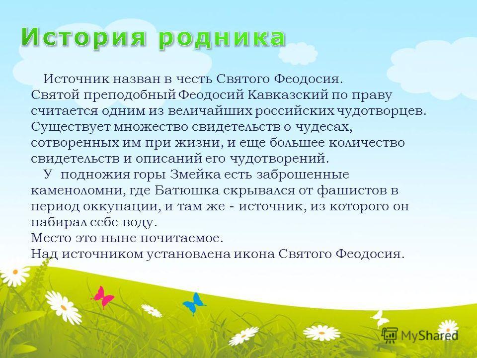 Источник назван в честь Святого Феодосия. Святой преподобный Феодосий Кавказский по праву считается одним из величайших российских чудотворцев. Существует множество свидетельств о чудесах, сотворенных им при жизни, и еще большее количество свидетельс