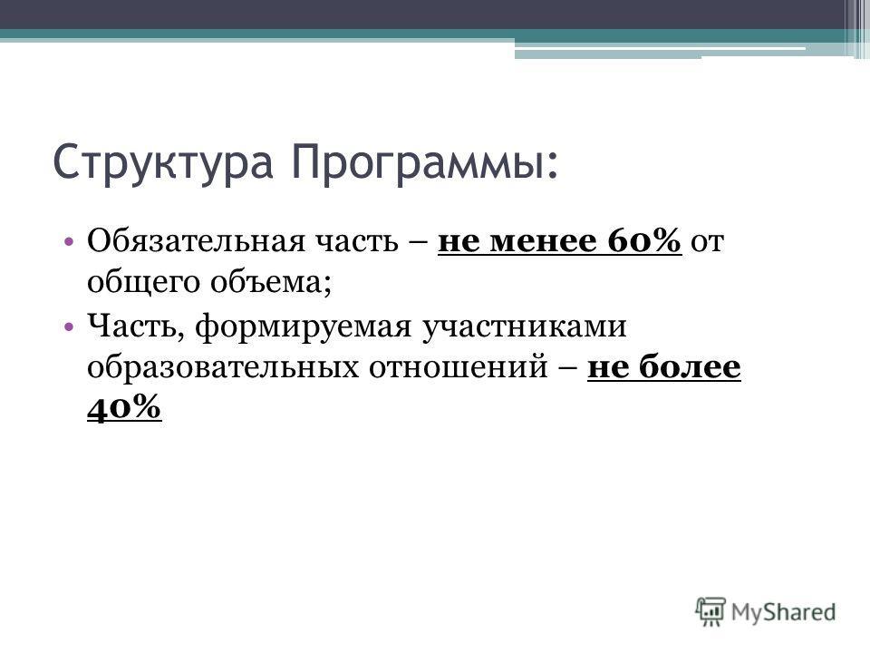 Структура Программы: Обязательная часть – не менее 60% от общего объема; Часть, формируемая участниками образовательных отношений – не более 40%