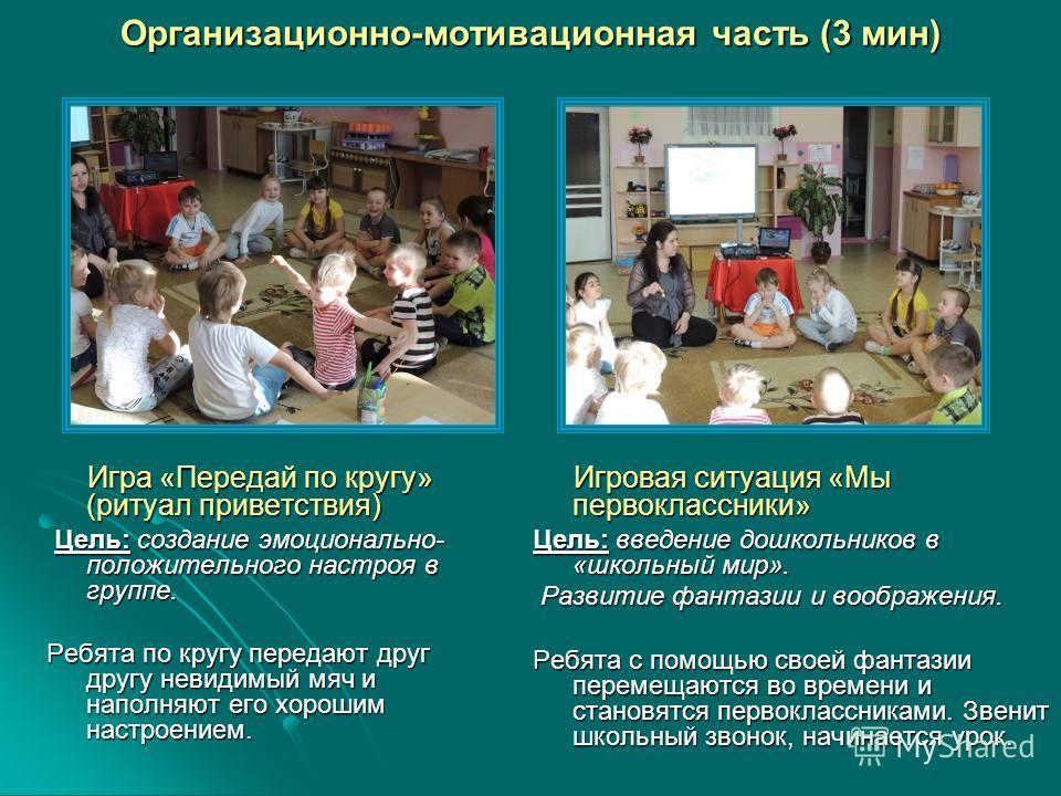 Организационно-мотивационная часть (3 мин) Игровая ситуация «Мы первоклассники» Игровая ситуация «Мы первоклассники» Цель: введение дошкольников в «школьный мир». Развитие фантазии и воображения. Развитие фантазии и воображения. Ребята с помощью свое