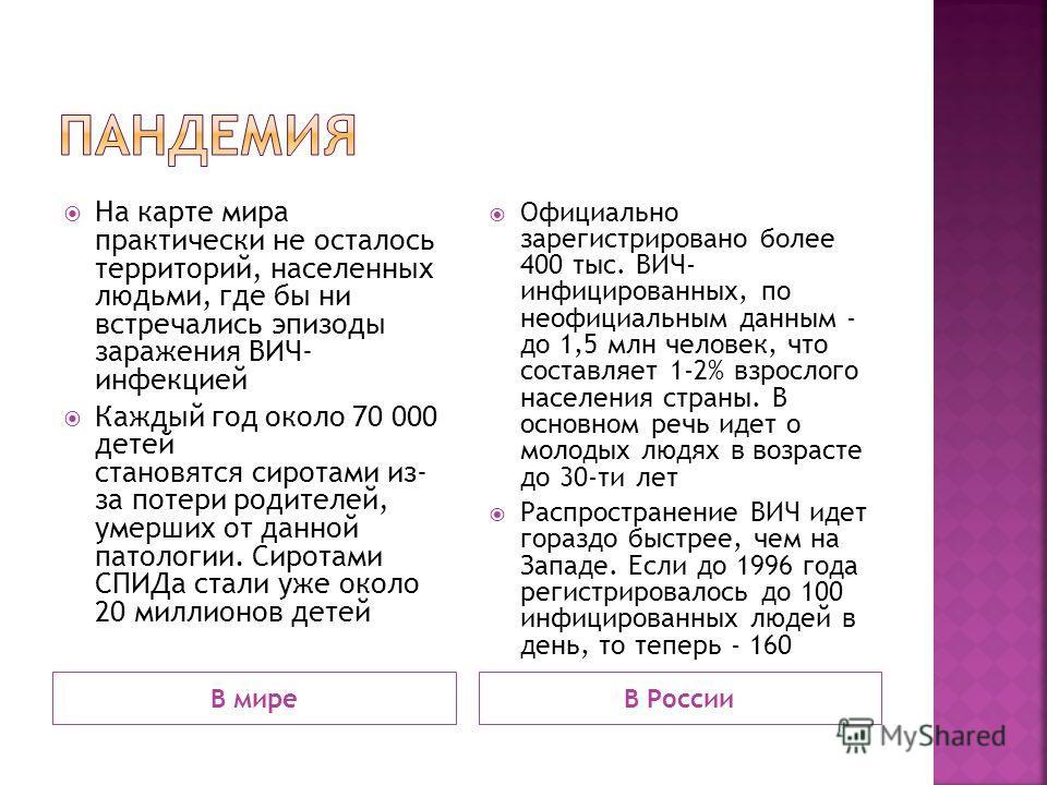 В миреВ России На карте мира практически не осталось территорий, населенных людьми, где бы ни встречались эпизоды заражения ВИЧ- инфекцией Каждый год около 70 000 детей становятся сиротами из- за потери родителей, умерших от данной патологии. Сиротам