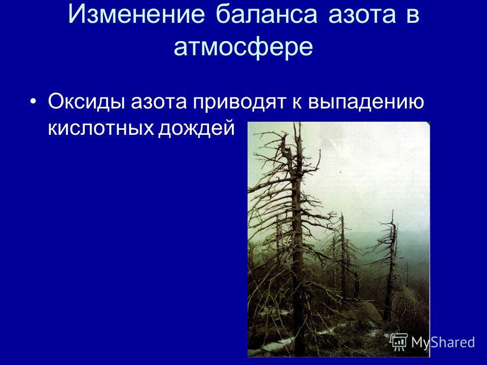 Изменение баланса азота в атмосфере Оксиды азота приводят к выпадению кислотных дождей