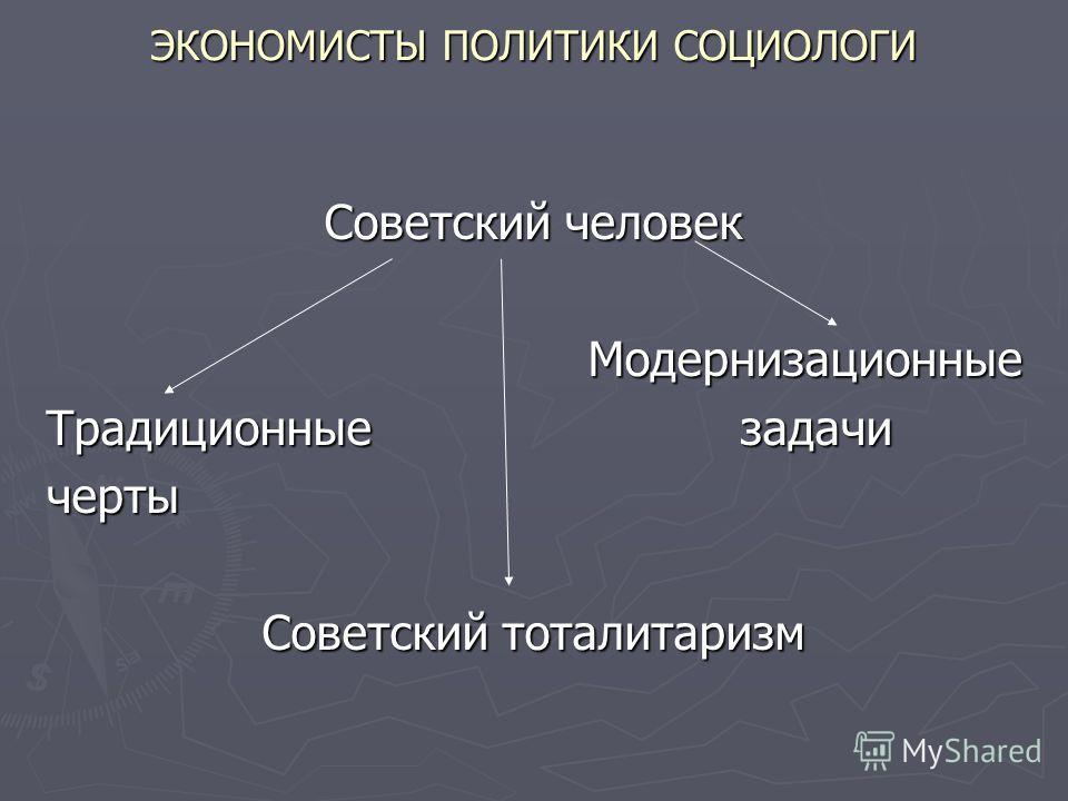 ЭКОНОМИСТЫ ПОЛИТИКИ СОЦИОЛОГИ Советский человек Модернизационные Традиционные задачи черты Советский тоталитаризм