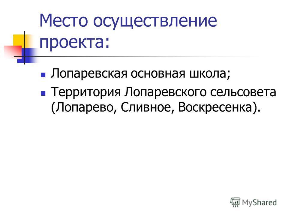 Место осуществление проекта: Лопаревская основная школа; Территория Лопаревского сельсовета (Лопарево, Сливное, Воскресенка).