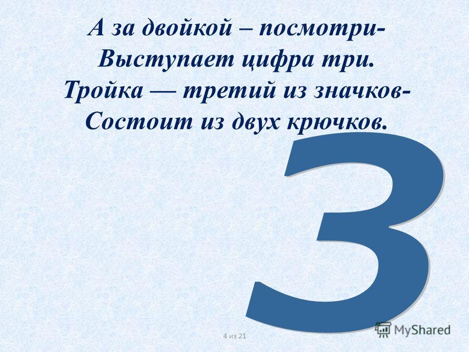 А за двойкой – посмотри- Выступает цифра три. Тройка третий из значков- Состоит из двух крючков. 4 из 21