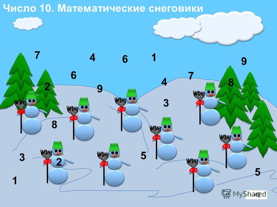 Число 10. Математические снеговики 1 9 1 9 2 2 8 8 7 7 3 3 5 5 6 6 4 4