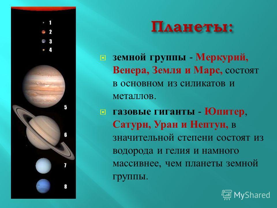 земной группы - Меркурий, Венера, Земля и Марс, состоят в основном из силикатов и металлов. газовые гиганты - Юпитер, Сатурн, Уран и Нептун, в значительной степени состоят из водорода и гелия и намного массивнее, чем планеты земной группы.