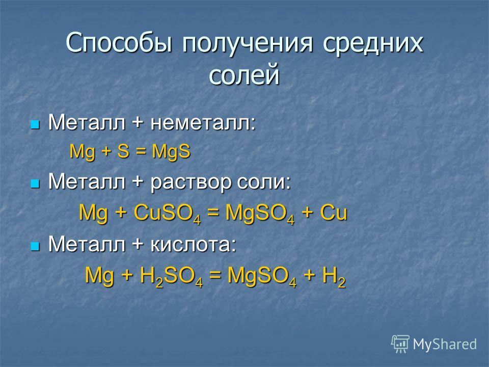 Металл + неметалл: Mg + S = MgS Металл + раствор соли: Mg + CuSO4 = MgSO4 + Cu Металл + кислота: Mg + H2SO4 = MgSO4 + H2