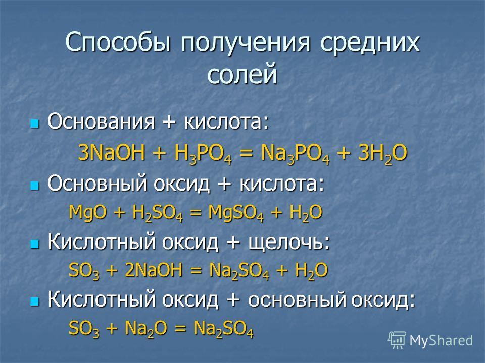 Способы получения средних солей Основания + кислота: 3NaOH + H3PO4 = Na3PO4 + 3H2O Основный оксид + кислота: MgO + H2SO4 = MgSO4 + H2O Кислотный оксид + щелочь: SO3 + 2NaOH = Na2SO4 + H2O Кислотный оксид + основный оксид: SO3 + Na2O = Na2SO4