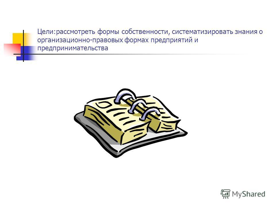 Цели:рассмотреть формы собственности, систематизировать знания о организационно-правовых формах предприятий и предпринимательства