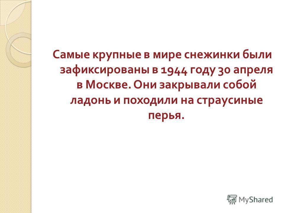 Самые крупные в мире снежинки были зафиксированы в 1944 году 30 апреля в Москве. Они закрывали собой ладонь и походили на страусиные перья.