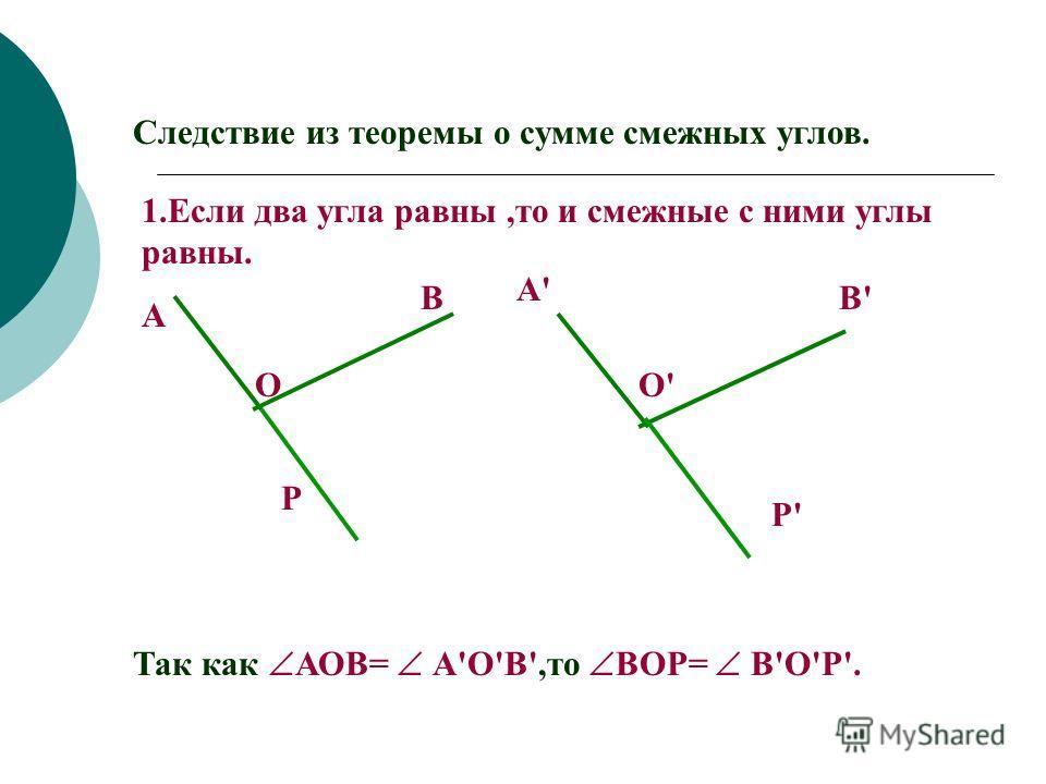СУММА СМЕЖНЫХ УГЛОВ РАВНА180° Теорема: Дано: М К Е О МОК и КОЕ смежные Доказать: МОК+ КОЕ=180° Доказательство: 1.Так как ОМ и ОЕ дополнительные полупрямые (подумай почему), то ЕОМ-развернутый 2.Тогда ЕОМ=180° ( по аксиоме…?) 3.Луч ОК лежит между стор