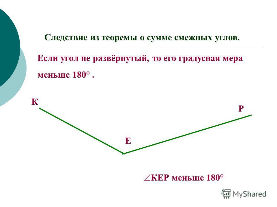 Следствие из теоремы о сумме смежных углов. 1.Если два угла равны,то и смежные с ними углы равны. А О В А'А' О'О' В'В' Р Р'Р' Так как АОВ= А'О'В',то ВОР= В'О'Р'.