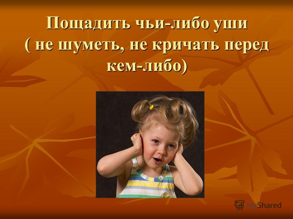 Пощадить чьи-либо уши ( не шуметь, не кричать перед кем-либо)
