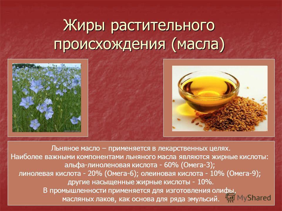 Жиры растительного происхождения (масла) Льняное масло – применяется в лекарственных целях. Наиболее важными компонентами льняного масла являются жирные кислоты: альфа-линоленовая кислота - 60% (Омега-3); линолевая кислота - 20% (Омега-6); олеиновая