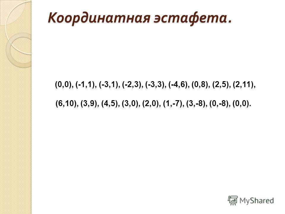 Координатная эстафета. (0,0), (-1,1), (-3,1), (-2,3), (-3,3), (-4,6), (0,8), (2,5), (2,11), (6,10), (3,9), (4,5), (3,0), (2,0), (1,-7), (3,-8), (0,-8), (0,0).