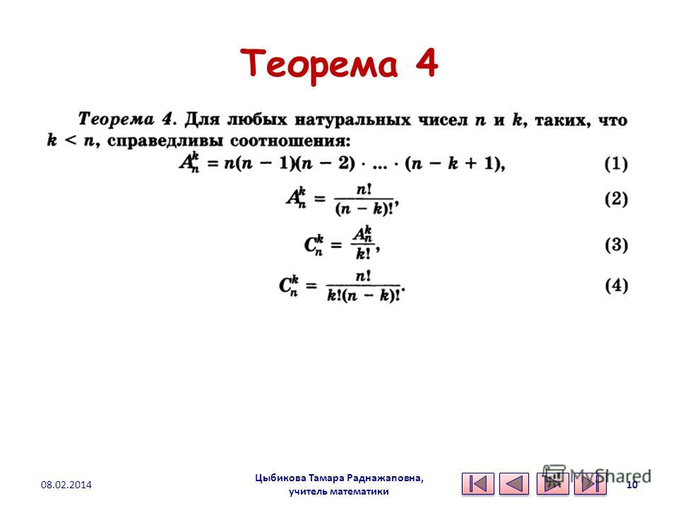 Теорема 4 Цыбикова Тамара Раднажаповна, учитель математики 08.02.201410