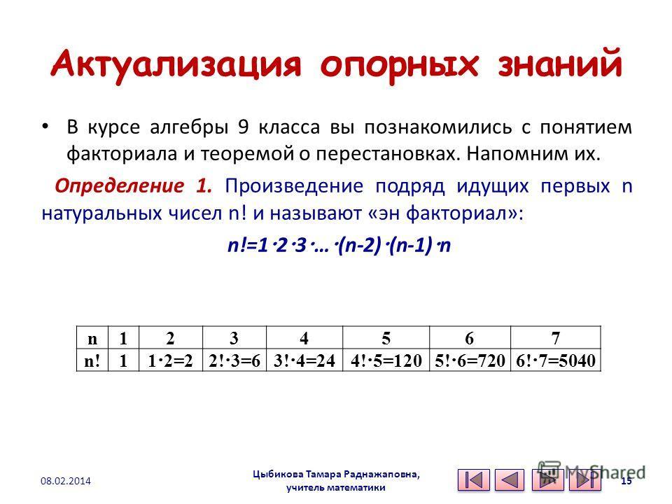Актуализация опорных знаний В курсе алгебры 9 класса вы познакомились с понятием факториала и теоремой о перестановках. Напомним их. Определение 1. Произведение подряд идущих первых n натуральных чисел n! и называют «эн факториал»: n!=1 2 3 … (n-2) (