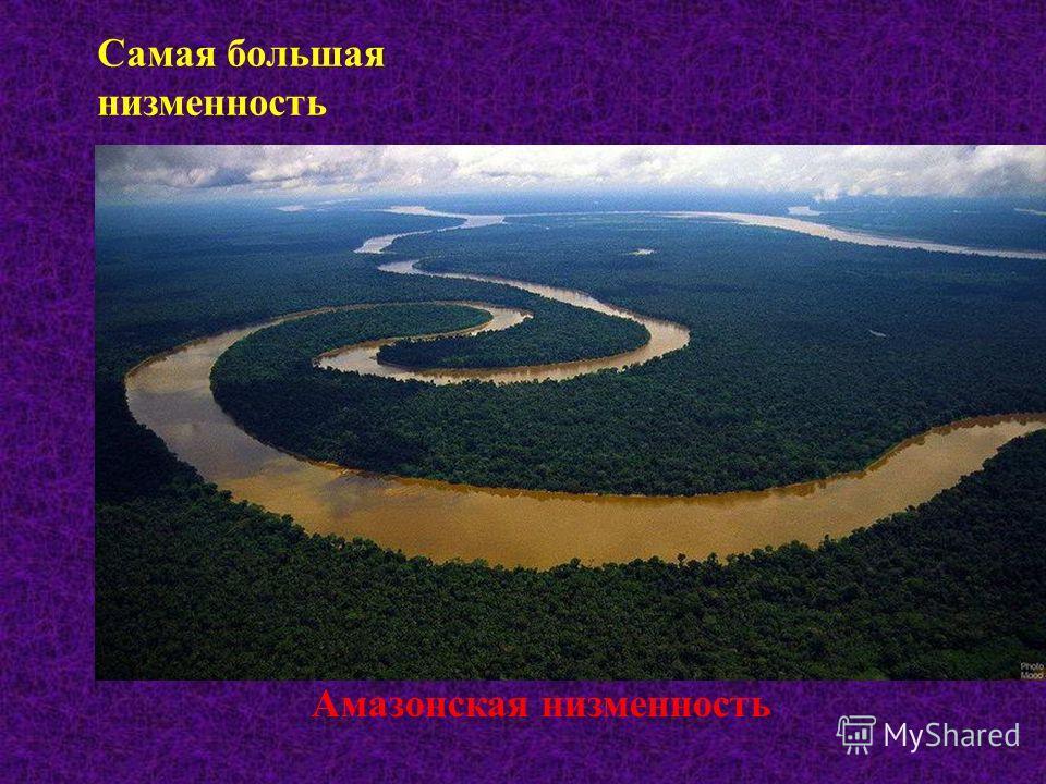 Самая большая низменность Амазонская низменность