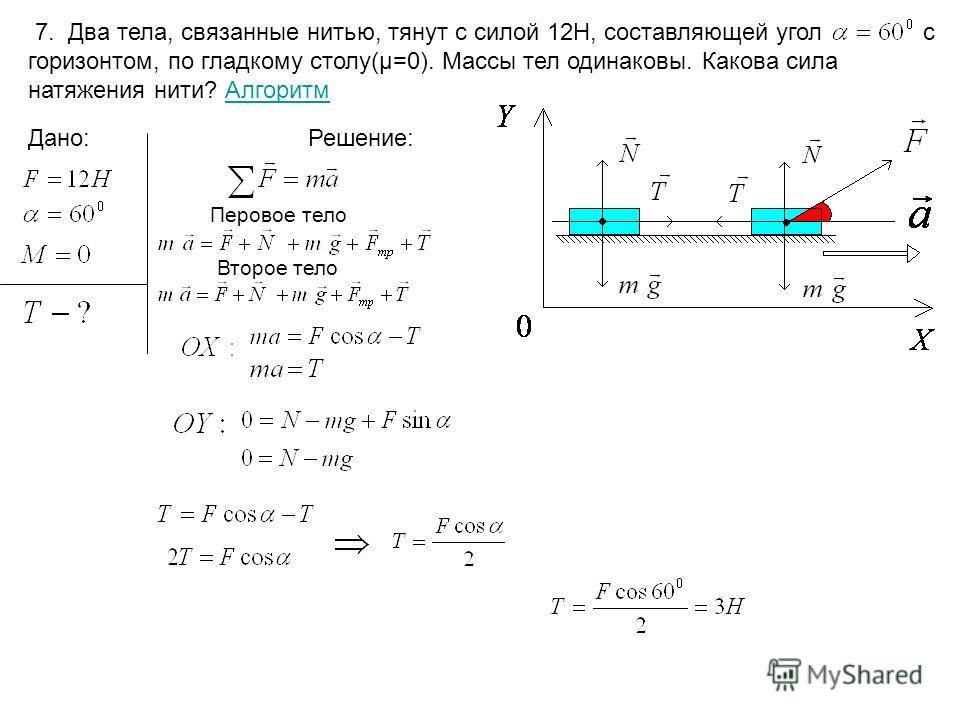 7. Два тела, связанные нитью, тянут с силой 12Н, составляющей угол с горизонтом, по гладкому столу(µ=0). Массы тел одинаковы. Какова сила натяжения нити? АлгоритмАлгоритм Дано:Решение: Перовое тело Второе тело