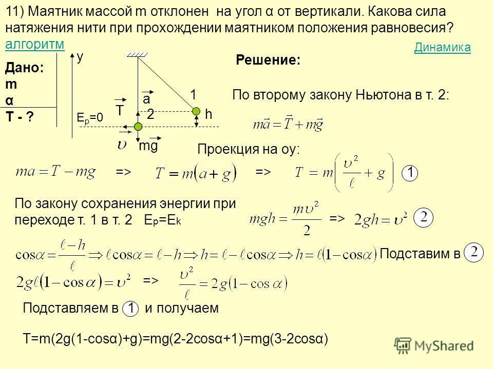 11) Маятник массой m отклонен на угол α от вертикали. Какова сила натяжения нити при прохождении маятником положения равновесия? алгоритм алгоритм Решение: Дано: m α T - ? 1 h a T mg y 2 T По второму закону Ньютона в т. 2: Проекция на oy: =>=>=>=> 1