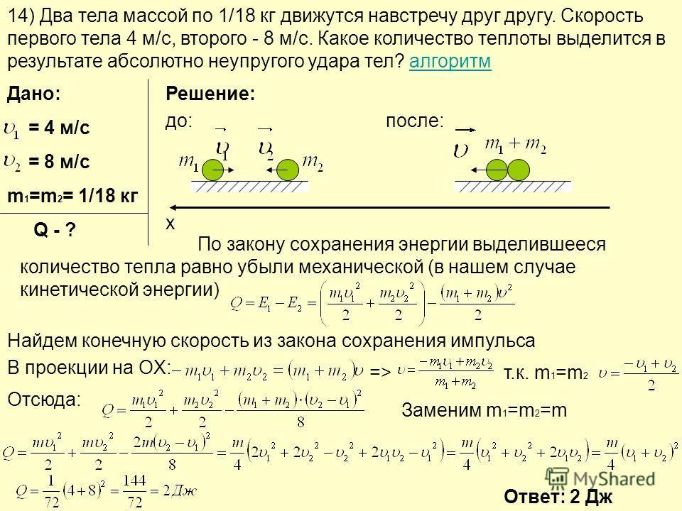 14) Два тела массой по 1/18 кг движутся навстречу друг другу. Скорость первого тела 4 м/с, второго - 8 м/с. Какое количество теплоты выделится в результате абсолютно неупругого удара тел? алгоритмалгоритм Дано: = 4 м/с = 8 м/с m 1 =m 2 = 1/18 кг Q -