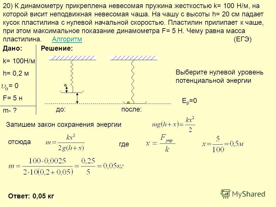 20) К динамометру прикреплена невесомая пружина жесткостью k= 100 Н/м, на которой висит неподвижная невесомая чаша. На чашу с высоты h= 20 см падает кусок пластилина с нулевой начальной скоростью. Пластилин прилипает к чаше, при этом максимальное пок