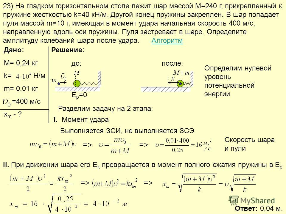 23) На гладком горизонтальном столе лежит шар массой М=240 г, прикрепленный к пружине жесткостью k=40 кН/м. Другой конец пружины закреплен. В шар попадает пуля массой m=10 г, имеющая в момент удара начальная скорость 400 м/с, направленную вдоль оси п