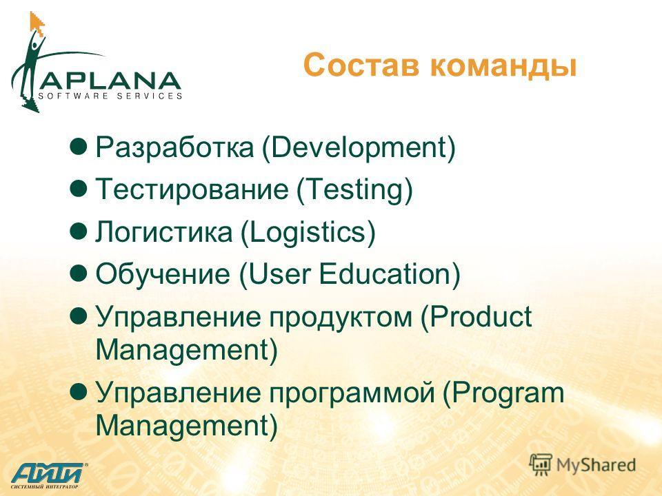 Состав команды Разработка (Development) Тестирование (Testing) Логистика (Logistics) Обучение (User Education) Управление продуктом (Product Management) Управление программой (Program Management)