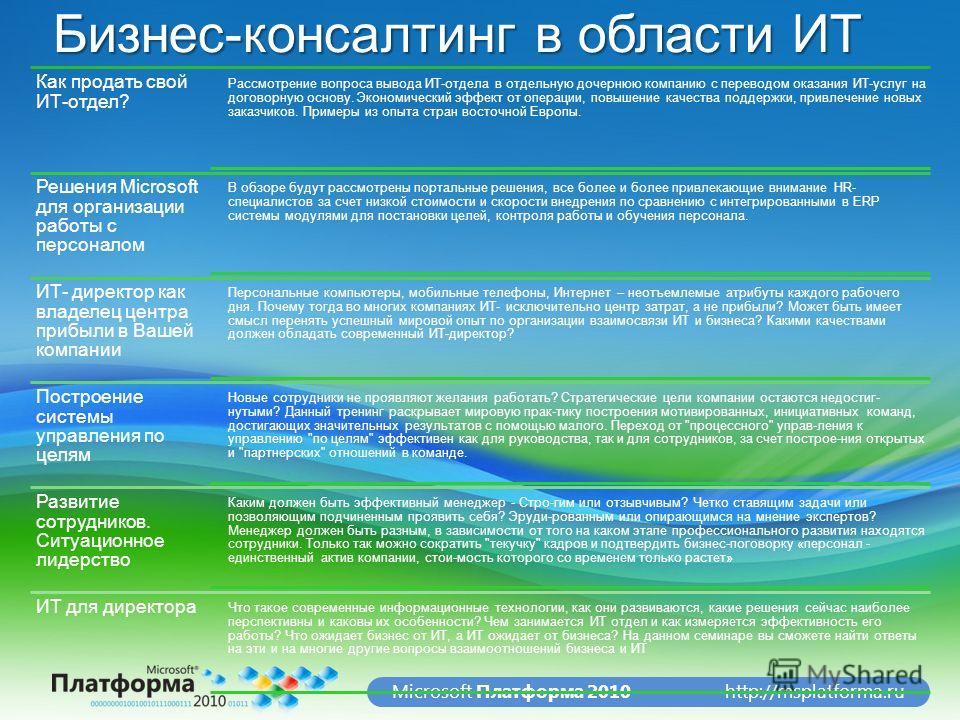http://msplatforma.ruMicrosoft Платформа 2010 Бизнес-консалтинг в области ИТ Как продать свой ИТ-отдел? Рассмотрение вопроса вывода ИТ-отдела в отдельную дочернюю компанию с переводом оказания ИТ-услуг на договорную основу. Экономический эффект от оп