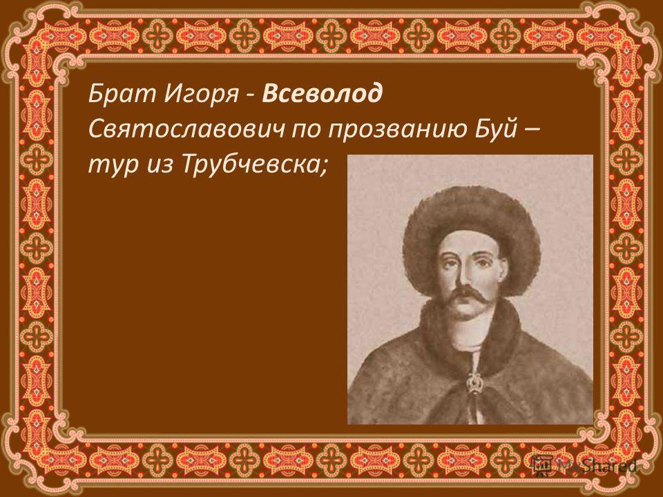 Брат Игоря - Всеволод Святославович по прозванию Буй – тур из Трубчевска;