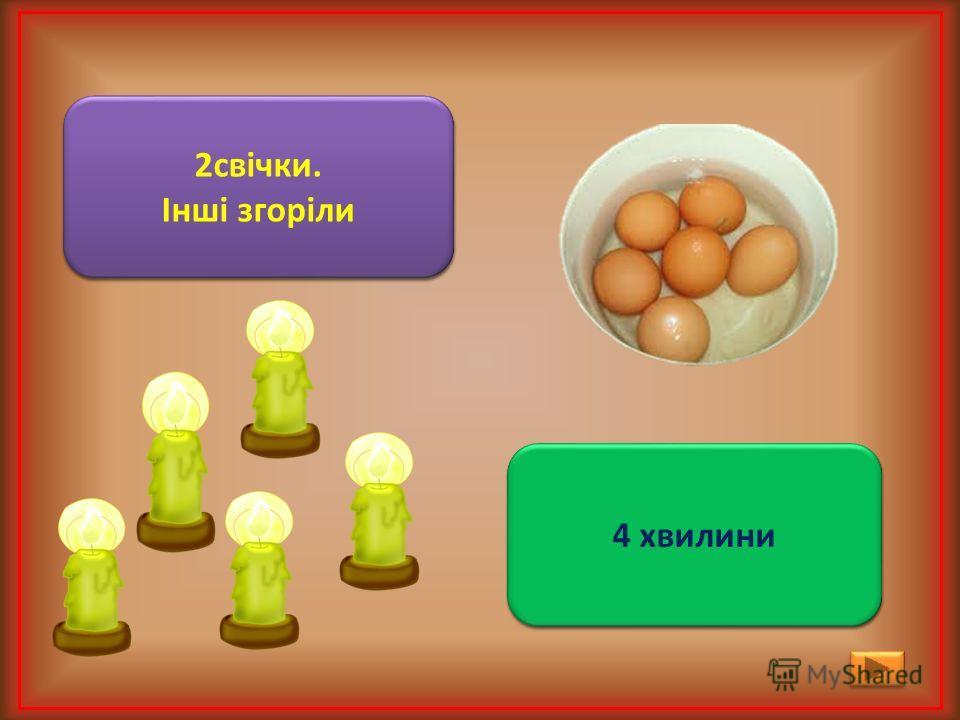 Горіло 7 свічок. 2 свічки згасли. Скільки свічок залишилось? 2свічки. Інші згоріли 2свічки. Інші згоріли Одне яйце варять 4 хвилини. Скільки хвилин будуть варити 2 яйця? Одне яйце варять 4 хвилини. Скільки хвилин будуть варити 2 яйця? 4 хвилини