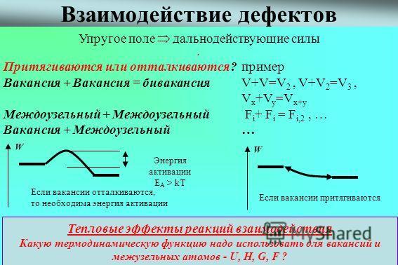 ХТТ Лекция 3 неточечные дефекты 2010 ХФ ННГУ 5 Взаимодействие дефектов. Притягиваются или отталкиваются? пример Вакансия + Вакансия = бивакансия V+V=V 2, V+V 2 =V 3, V x +V y =V x+y Междоузельный + Междоузельный F i + F i = F i,2, … Вакансия + Междоу