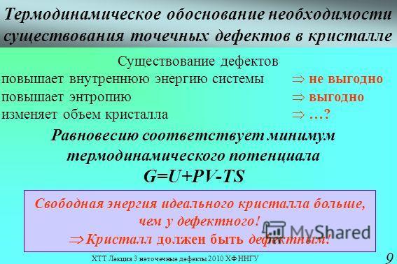 ХТТ Лекция 3 неточечные дефекты 2010 ХФ ННГУ 9 Термодинамическое обоснование необходимости существования точечных дефектов в кристалле Существование дефектов повышает внутреннюю энергию системы не выгодно повышает энтропию выгодно изменяет объем крис