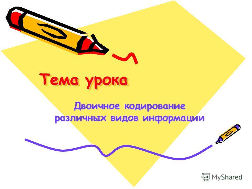 Тема урока Двоичное кодирование различных видов информации