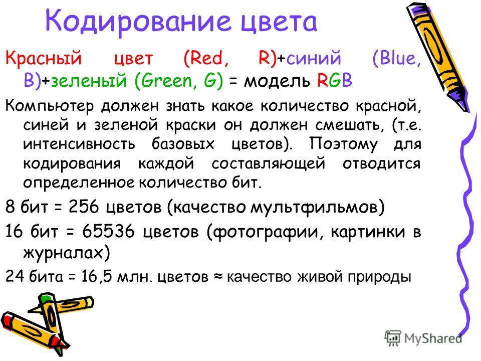 Кодирование цвета Красный цвет (Red, R)+синий (Blue, B)+зеленый (Green, G) = модель RGB Компьютер должен знать какое количество красной, синей и зеленой краски он должен смешать, (т.е. интенсивность базовых цветов). Поэтому для кодирования каждой сос