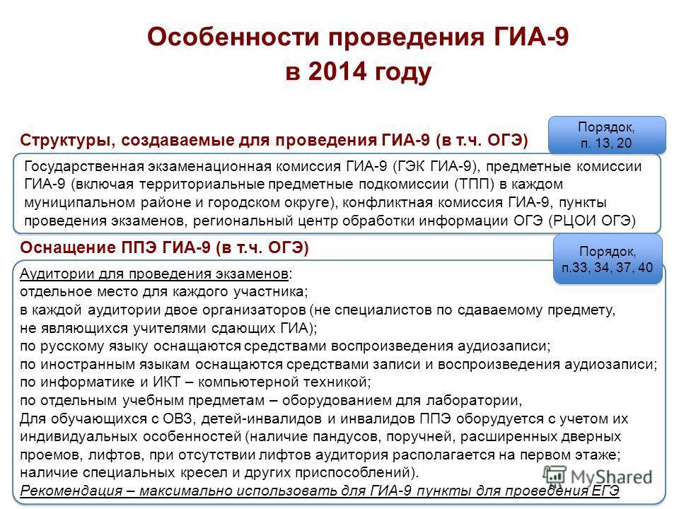 6 Особенности проведения ГИА-9 в 2014 году Государственная экзаменационная комиссия ГИА-9 (ГЭК ГИА-9), предметные комиссии ГИА-9 (включая территориальные предметные подкомиссии (ТПП) в каждом муниципальном районе и городском округе), конфликтная коми