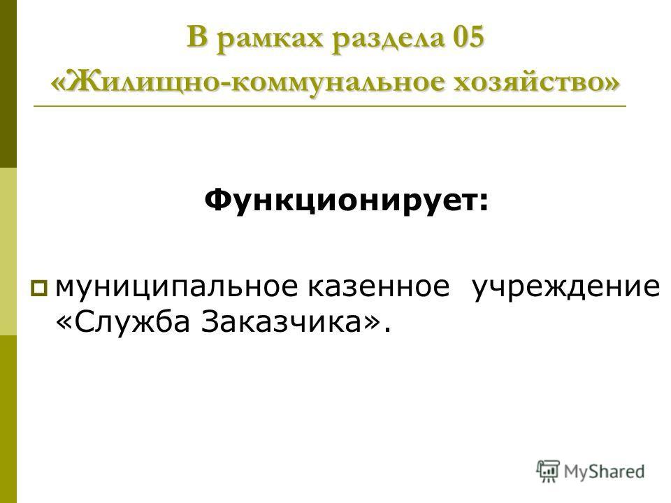 В рамках раздела 05 «Жилищно-коммунальное хозяйство» Функционирует: муниципальное казенное учреждение «Служба Заказчика».