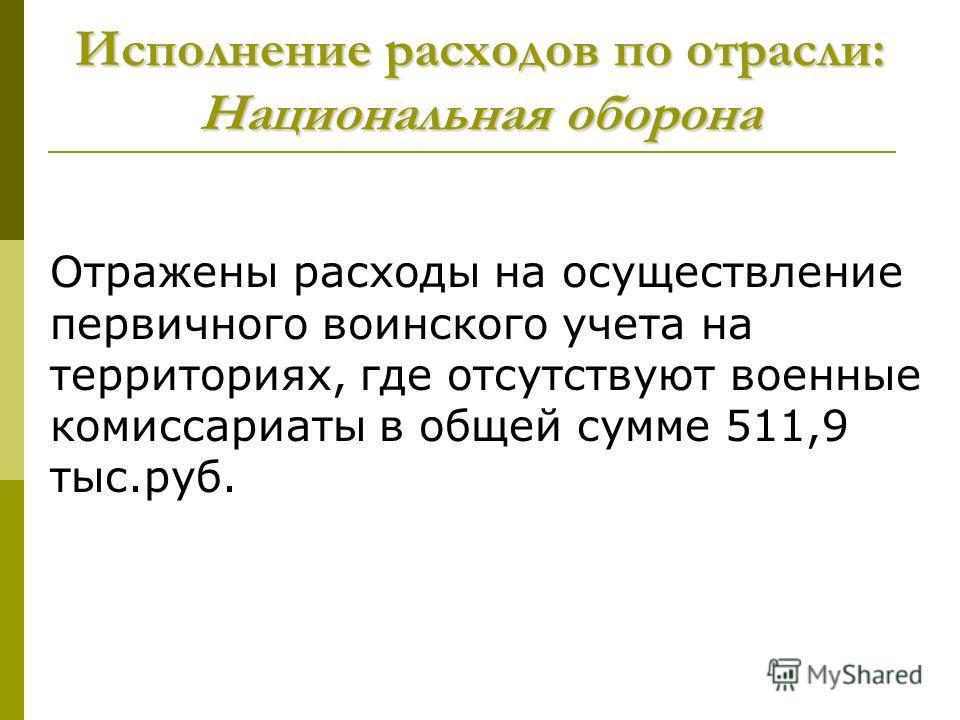 Исполнение расходов по отрасли: Национальная оборона Отражены расходы на осуществление первичного воинского учета на территориях, где отсутствуют военные комиссариаты в общей сумме 511,9 тыс.руб.