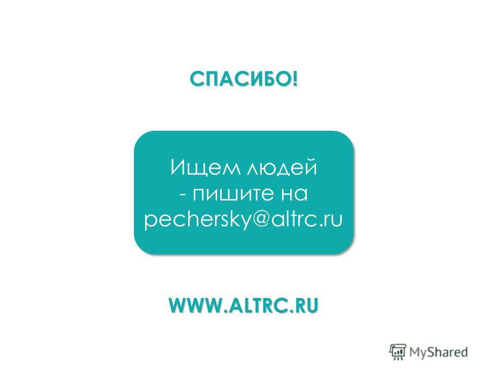 СПАСИБО! Ищем людей - пишите на pechersky@altrc.ru Ищем людей - пишите на pechersky@altrc.ru WWW.ALTRC.RU