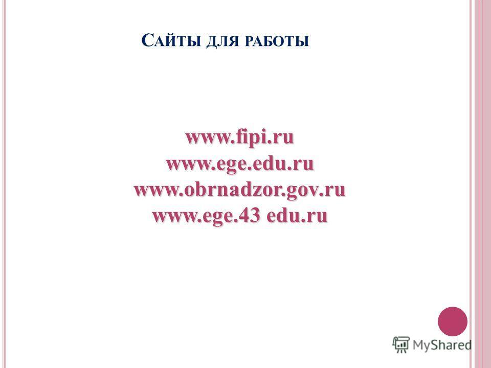С АЙТЫ ДЛЯ РАБОТЫ www.fipi.ru www.ege.edu.ru www.obrnadzor.gov.ru www.ege.43 edu.ru