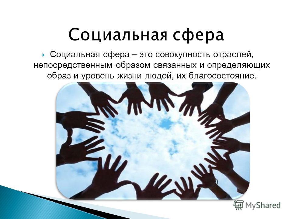 Социальная сфера – это совокупность отраслей, непосредственным образом связанных и определяющих образ и уровень жизни людей, их благосостояние.