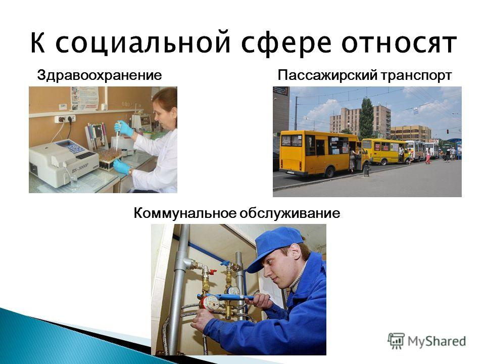Здравоохранение Пассажирский транспорт Коммунальное обслуживание