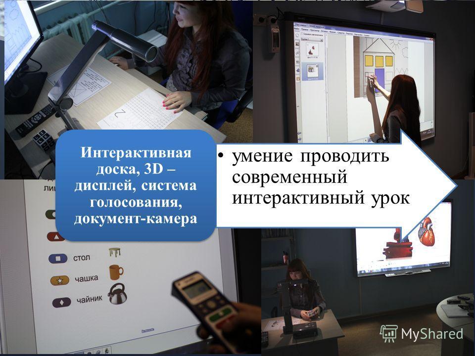 муреева умение проводить современный интерактивный урок Интерактивная доска, 3D – дисплей, система голосования, документ-камера
